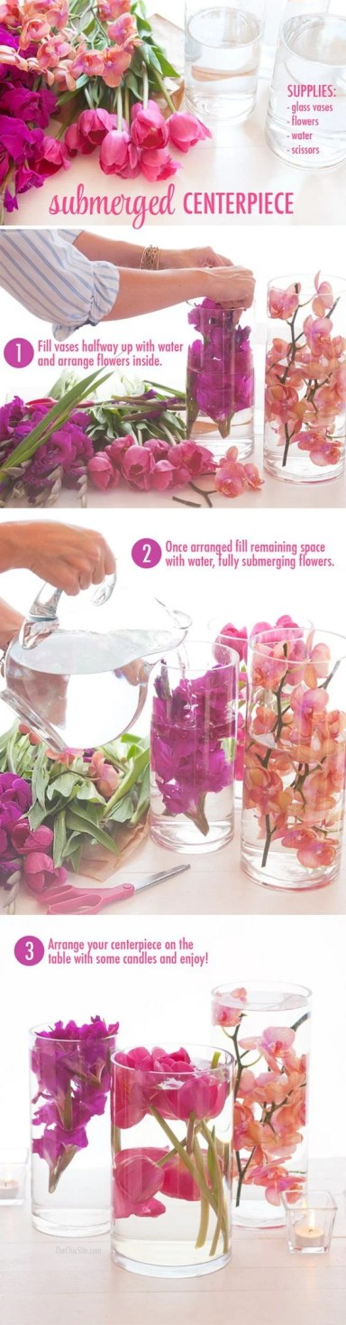 This submerged DIY flower centerpiece is super neat! Can't wait to try it!