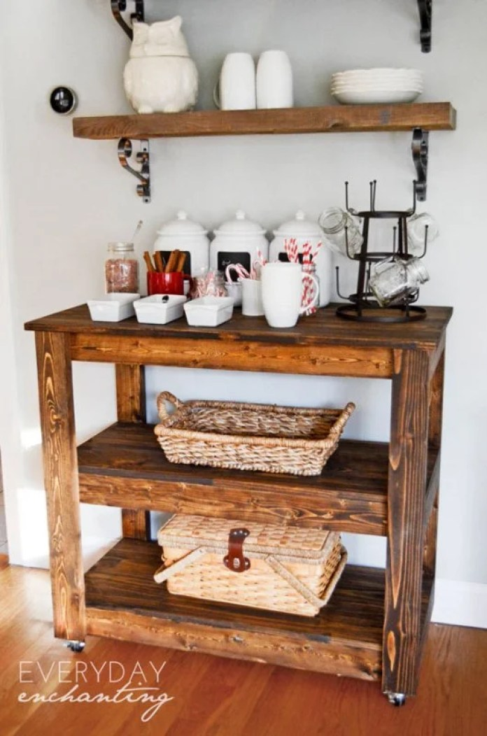Wood Roll Coffee Bar Cart
