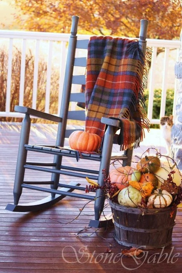 Rustic Fall Porch Decor Idea | Swinging Rocking Chair and Pumpkins