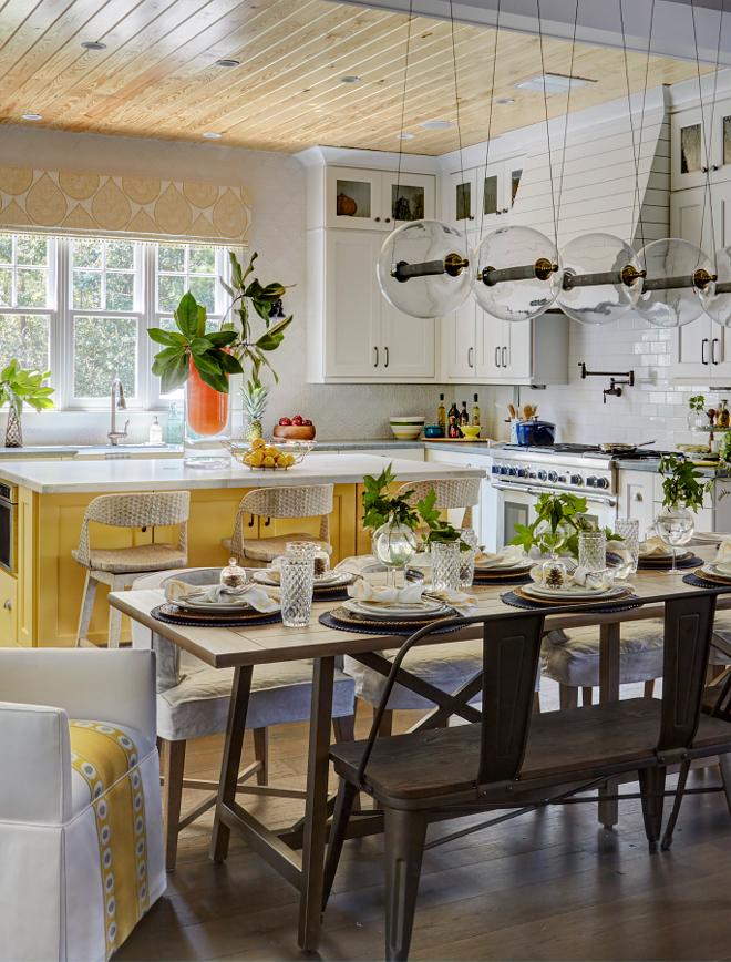 Yellow Kitchen Island Paint Idea