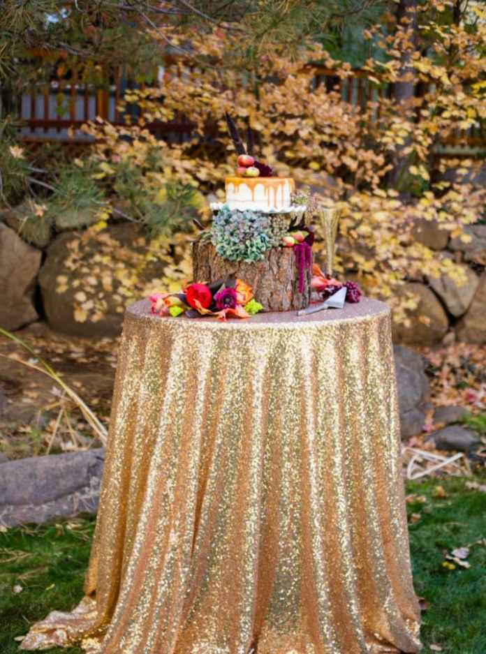 Gold Sequin Tablecloth for Fall Weddings