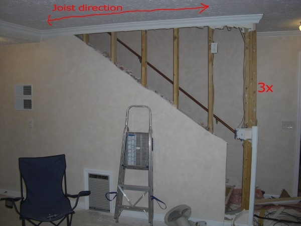 Opening Basement Stairs Photos Building Construction Diy | Opening Up Basement Stairs | Underneath | Landing | Living Room | Wall | Basement Above
