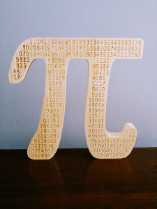 Pi shape with engraved digits
