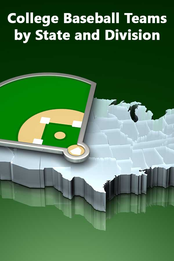 College Baseball Teams by State and Division