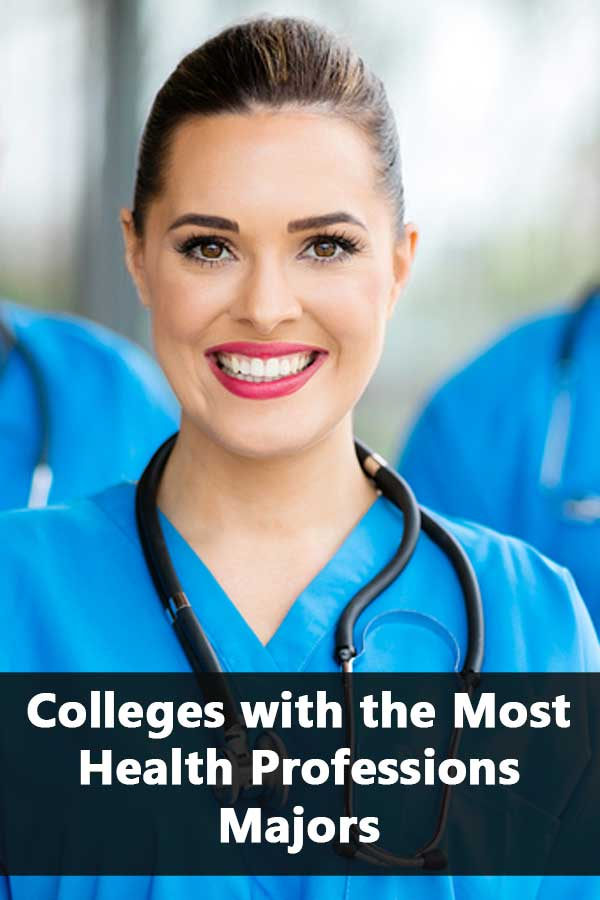 Colleges with the most health professions majors and accept at least 50% of students and have at least a 50% graduation rate.