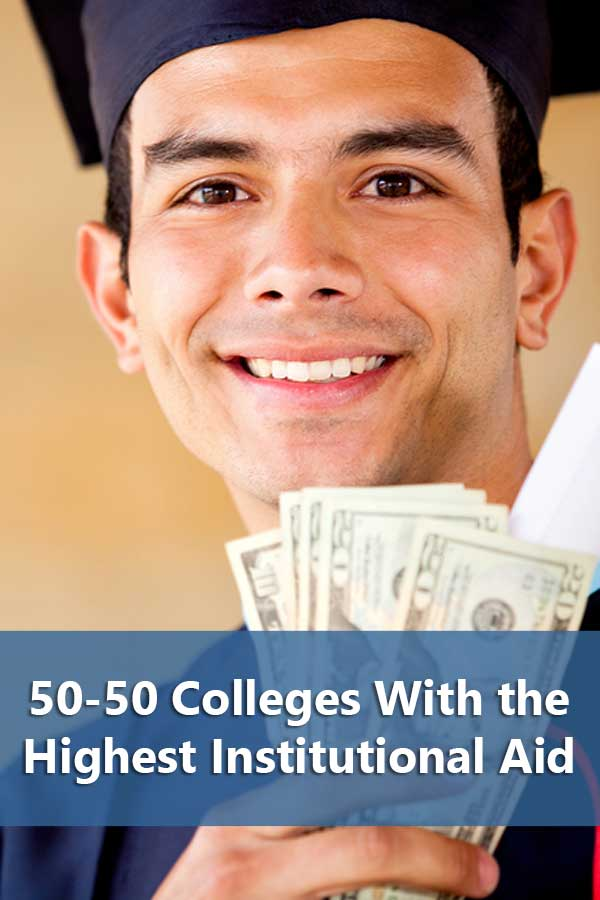 List of colleges providing the highest institutional aid for freshman and admit at least 50% of students and have at least a 50% graduation rate.