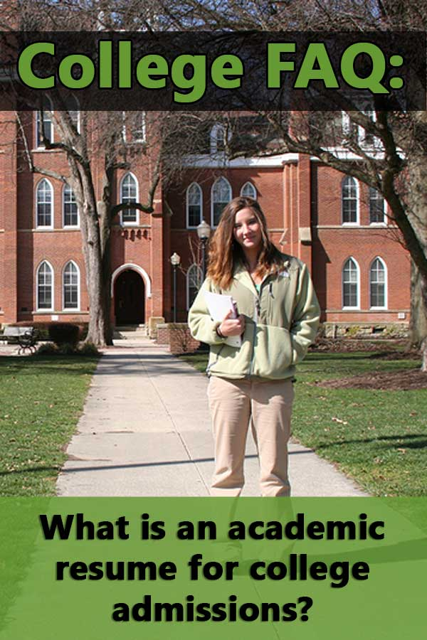 What is an academic resume for college admissions?