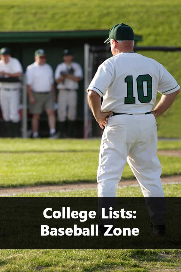 List of college baseball programs by state and conference. Includes admissions and financial aid information.