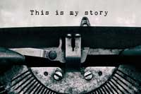 """Text """"This is my story"""" on old type writer representing how parents can help on college application essays"""