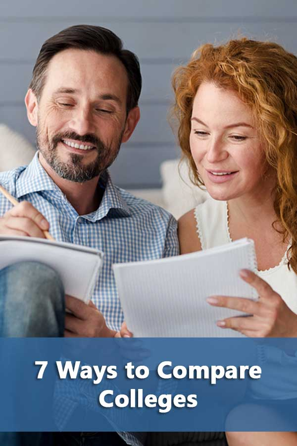 7 factors to use to compare colleges including college rankings, earnings, debt, graduation rates, and average net price. #CollegeAdmissions