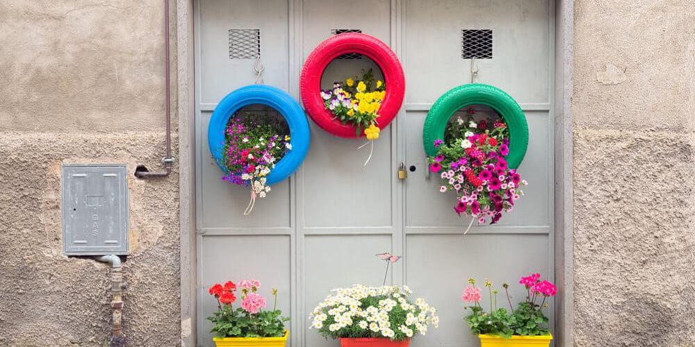 DIY Hanging Tire Planters