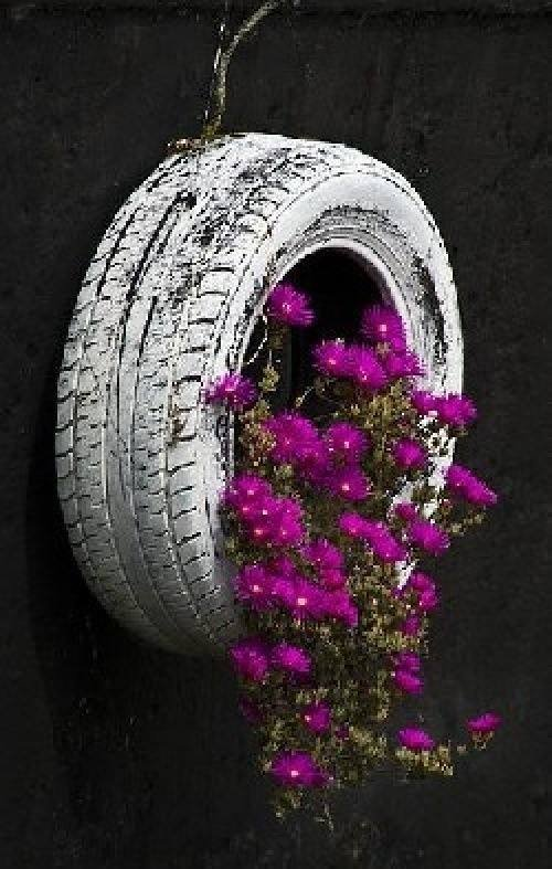 diy ideas hanging tire planters