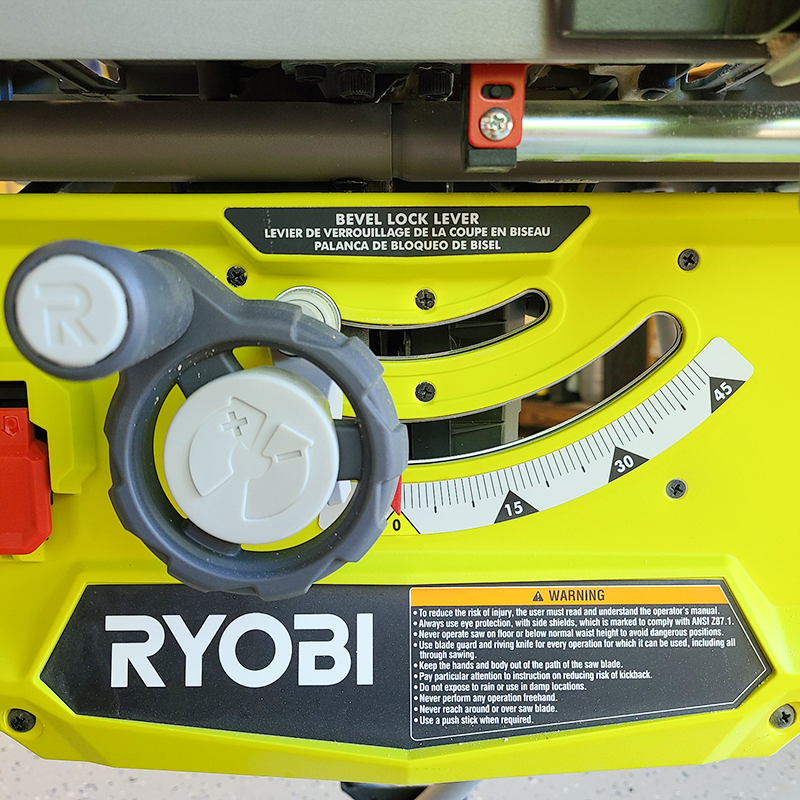 Close up of the Ryobi RTS22 10 in. table saw