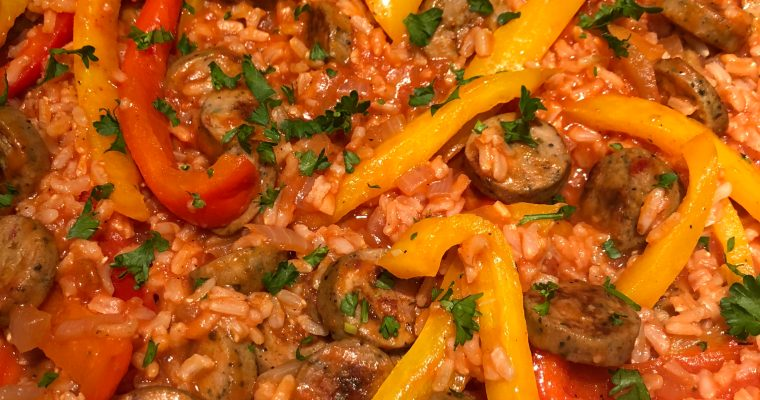 Rice, Bell Pepper and Sausage Dinner