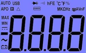 The display on the AstroAI DM6000AR digital multimeter