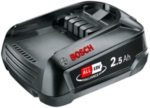 An 18V 2.5Ah Bosch battery