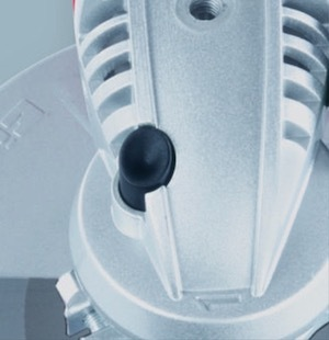 The spindle lock button on the Einhell TE-AG 115 angle grinder