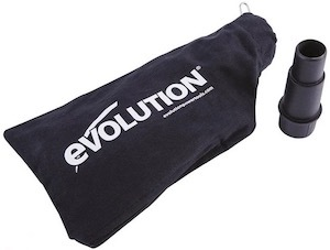 The dust-collection bag and vacuum adaptor for the Evolution R210SMS+ mitre saw