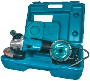 The Makita GA4530 angle grinder in its case