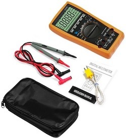 The Proster VC99 digital multimeter and the accessories that come with it