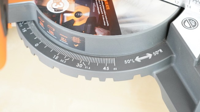 Mitre Angle Scale on the R255SMS Mitre Saw