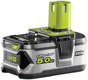 A Ryobi ONE+ 5Ah battery