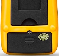 The back of the Ultrics digital multimeter showing the battery cover