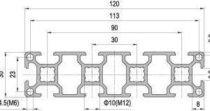 30 x 120 Aluminium Modular Profile - 10 Slots - DIY-Geek