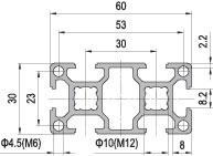 30 x 60 Aluminium Modular Profile - 6 Slots - DIY-Geek