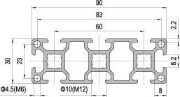 30 x 90 Aluminium Modular Profile - 8 Slots - DIY-Geek