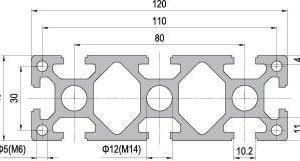 40 x 120 Aluminium Modular Profile - 8 Slots Heavy - DIY-Geek