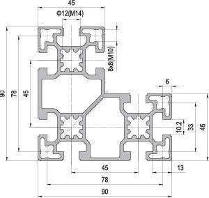 90 x 90 L Aluminium Modular Profile - 8 Slots - DIY-Geek
