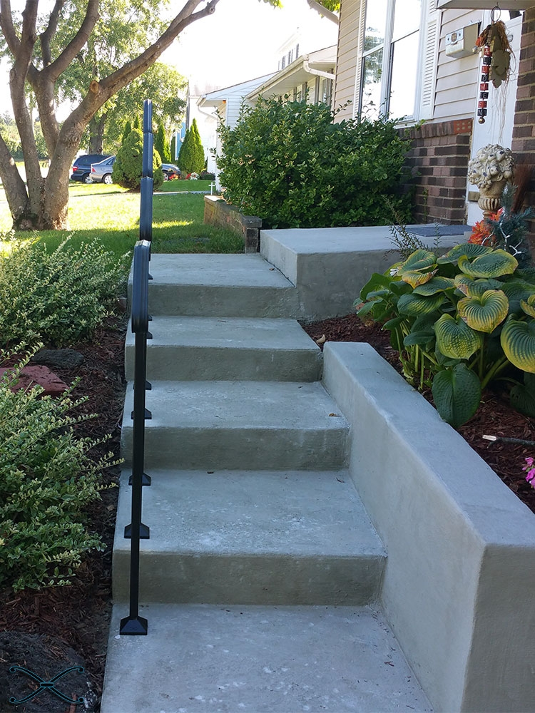 Shop Arch Styled Hand Railings For Concrete Steps Diy Handrails   Handrails For Concrete Steps   Concrete Surface Mount Stair Railing   Back Patio   Premade   Landing   Deck Stair