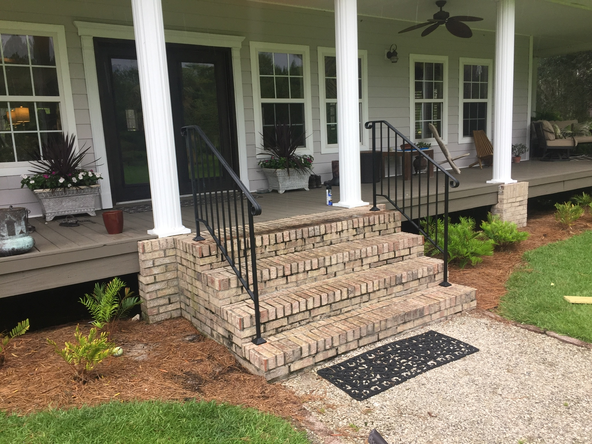 Shop Diy Wrought Iron Handrail Handrails For Indoor Outdoor Steps | Safety Rails For Outside Steps | Stair Handrail | Wrought Iron | Steel | Front Porch | Deck Railing