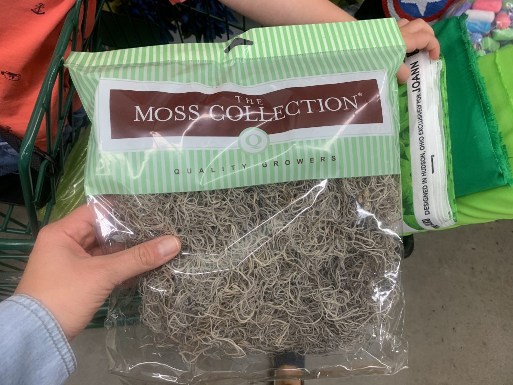 moss material for our diy audrey 2 halloween costume