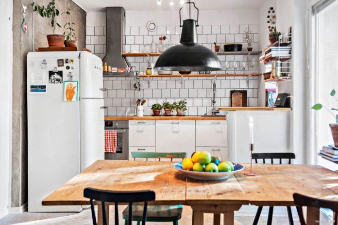 Cozinha apartamento escandinavo