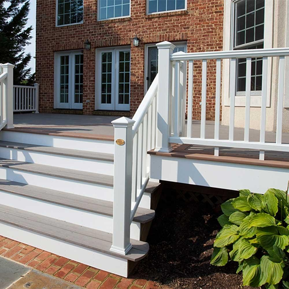 Transcend Rail Kit With Square Balusters 36 Trex   Wood Baluster Deck Railing   Temporary   Surface Mount   Pre Built   Side Mounted   Hardwood