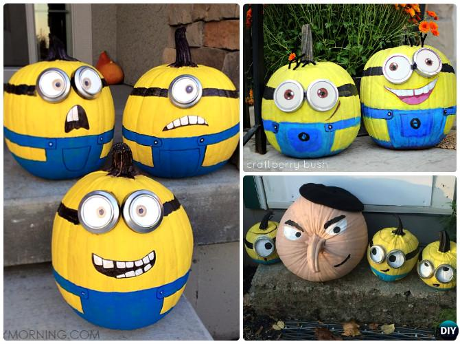 No Carve Halloween Pumpkin Decoration DIY Craft Ideas DIY Minion Pumpkin Instructions   16 No Carve Pumpkin DIY Ideas