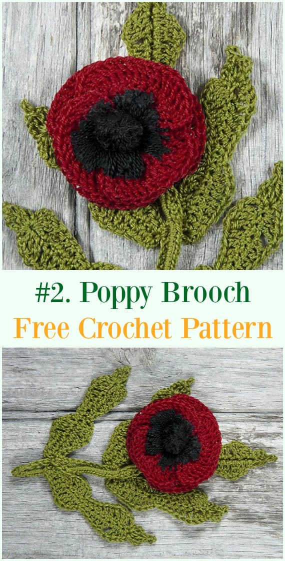 Free Crochet Poppy Brooch Pattern Modern Home Revolution