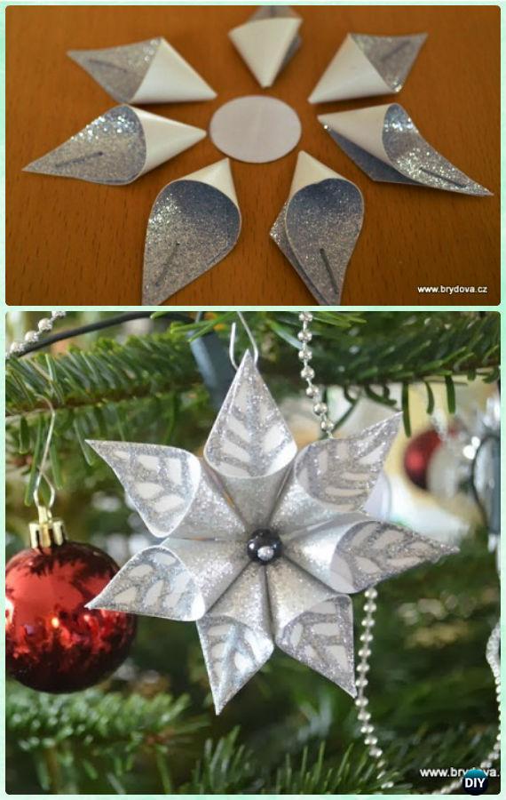 DIY Paper Christmas Tree Ornament Craft Ideas Instructions