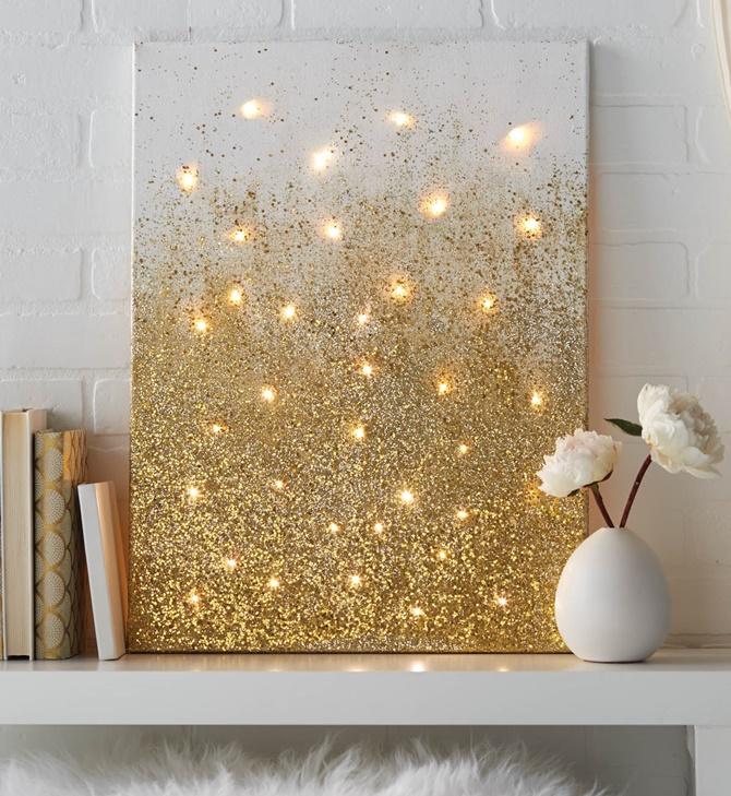 DIY String Light Backlit Canvas Art Ideas Crafts