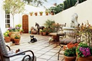 mediterranean garden patio designs