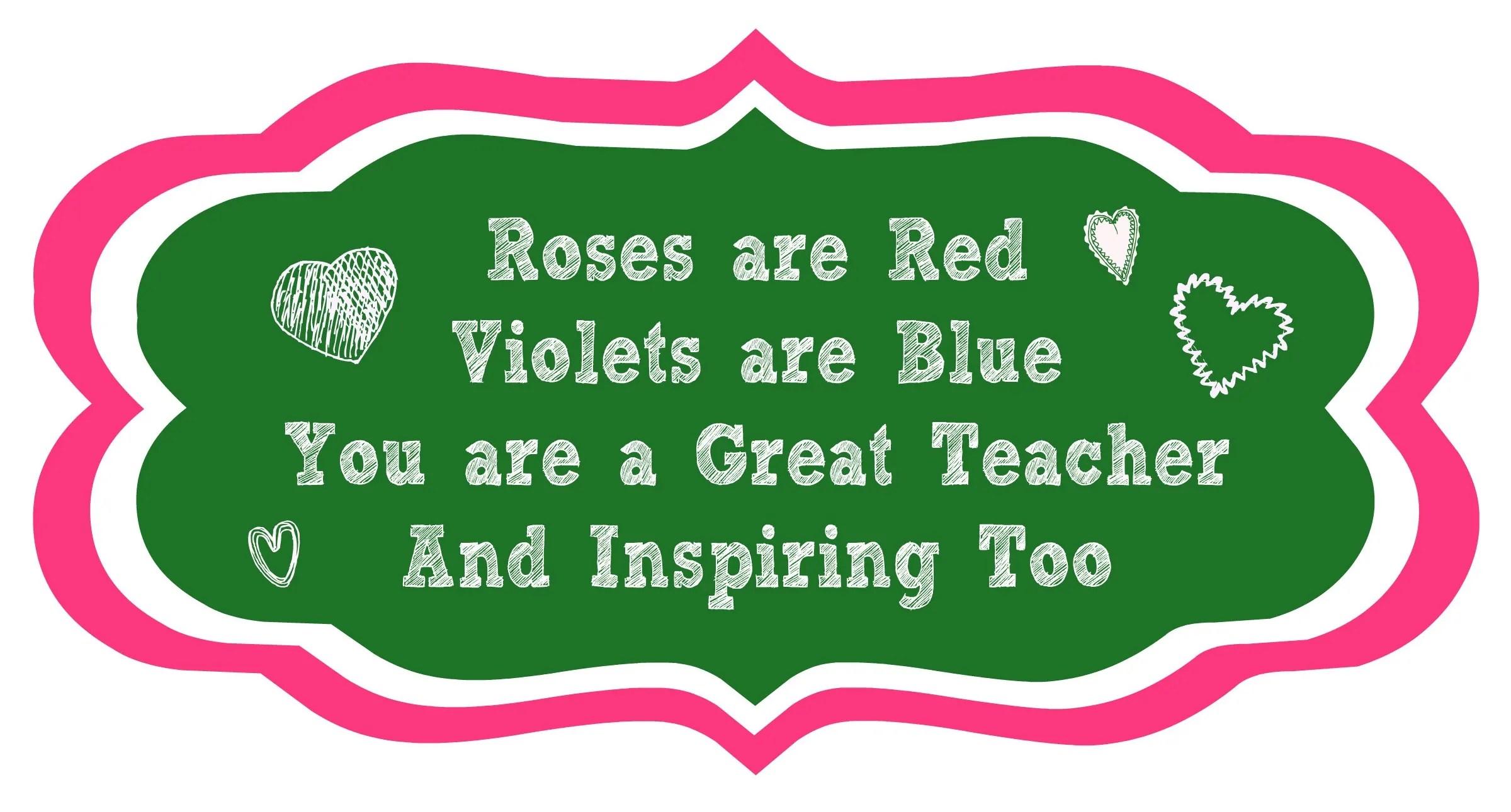 Roses Are Red Printable Teacher Poem