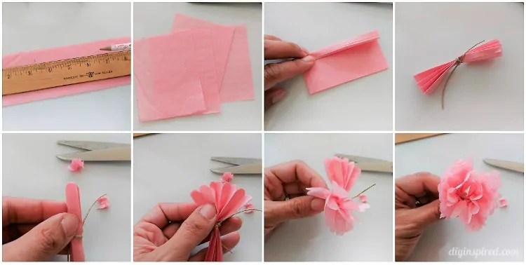 DIY Mini Tissue Paper Flowers Bouquet   DIY Inspired Using a pencil and ruler  measure 2 5    X 3 25    rectangles  You will need  four per flower  Fold over the tissue paper so that you can cut several at  a time