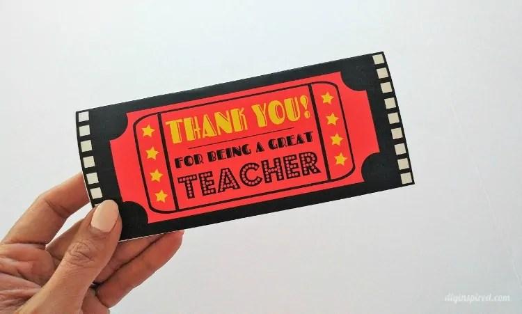 Movie Ticket Printable Teacher Thank You DIY Inspired