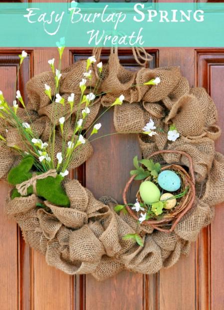 Burlap Wreath - 40 Creative DIY Easter Wreath Ideas to Beautify Your Home