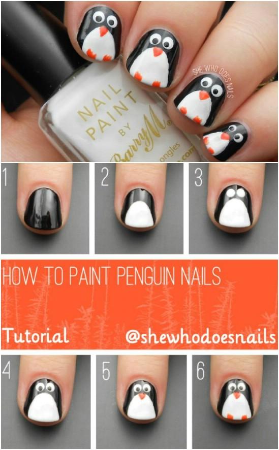 Penguin Power 20 Fantastic Diy Christmas Nail Art Designs That Are Borderline Genius