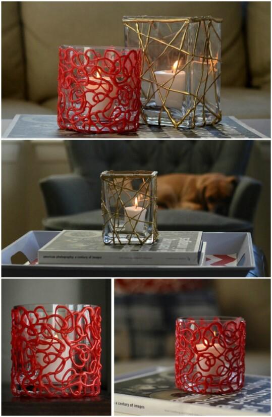 16. Make Pretty Votive Candleholders