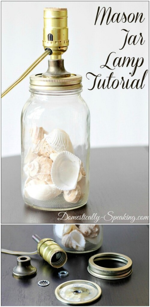 Mason Jar Seashell Lamp