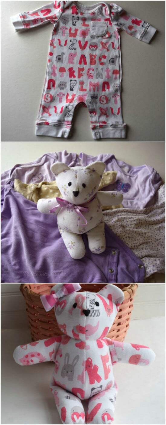 Baby Clothing Memory Bear - 20 Adorably Creative Upcycling Projects To Repurpose Old Baby Clothes